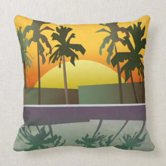 Tropical Sunset Landscape, Palm Trees Throw Pillow