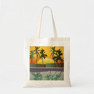 Tropical Sunset Landscape, Palm Trees Tote Bag