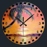 "Tropical Sunset Large Clock<br><div class=""desc"">Tropical sunset artwork wall clock.</div>"