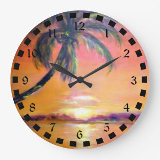 Tropical Sunset Large Clock
