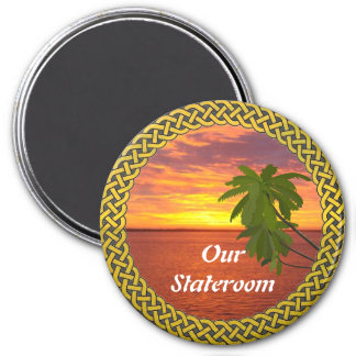 Tropical Sunset Lg Door Marker 3 Inch Round Magnet