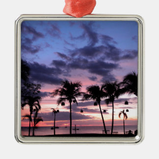 Tropical Sunset Metal Ornament