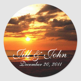 Tropical Sunset Names and Date Wedding Sticker