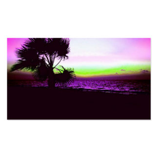 Tropical Sunset of Beach & Trees in Purple Business Card