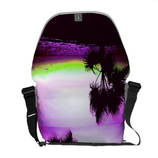 Tropical Sunset of Beach & Trees in Purple Messenger Bag