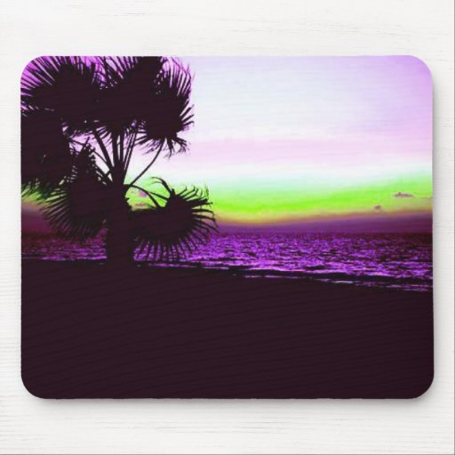 Tropical Sunset of Beach & Trees in Purple Mouse Pad