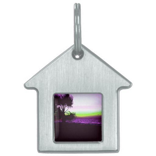 Tropical Sunset of Beach & Trees in Purple Pet Name Tags