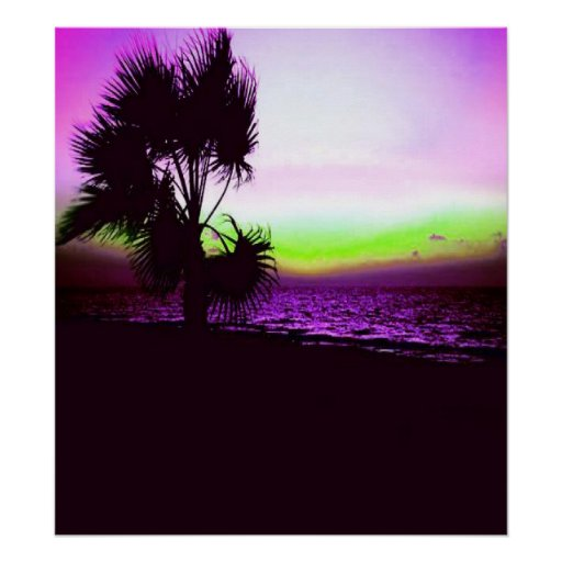 Tropical Sunset of Beach & Trees in Purple Print