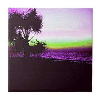 Tropical Sunset of Beach & Trees in Purple Ceramic Tile