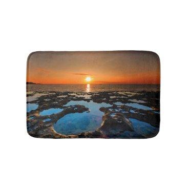 Beach Themed Tropical Sunset On Crater Beach Bathroom Mat