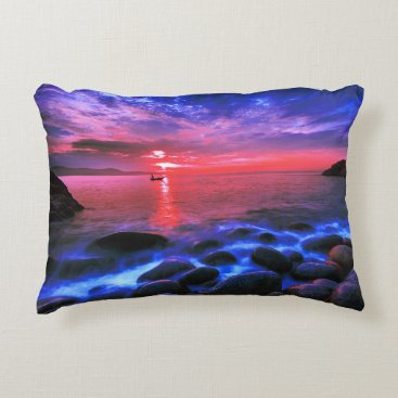 Tropical Sunset On Rocky Coast Decorative Pillow