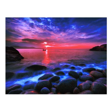 Tropical Sunset On Rocky Coast Postcard