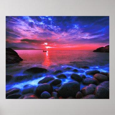 Beach Themed Tropical Sunset On Rocky Coast Poster