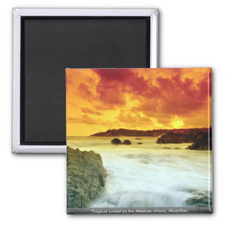 Tropical sunset on the Mexican riviera, Mazatlan, 2 Inch Square Magnet