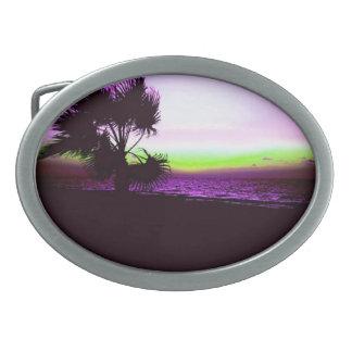 Tropical Sunset Oval Belt Buckle