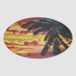 Tropical Sunset Oval Stickers
