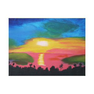 Tropical Sunset Painting Canvas Print