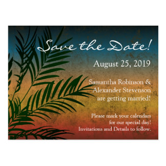 Tropical Sunset Palm Fronds Beach Save the Date Postcard