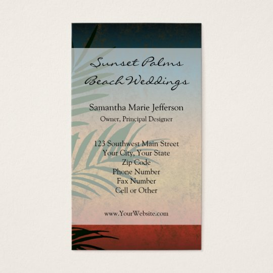 Tropical Sunset Palm Fronds Business Card