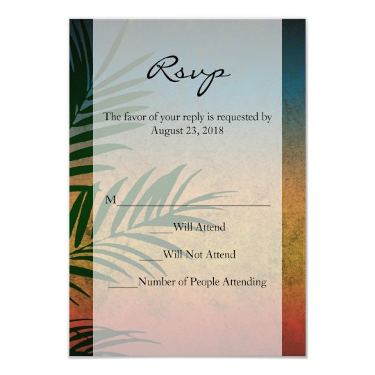 Tropical Sunset Palm Fronds Card