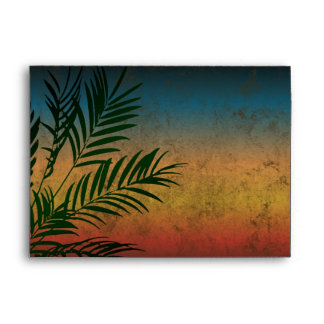 Tropical Sunset Palm Fronds Envelope