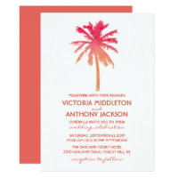 Tropical Sunset Palm Tree Beach Wedding Card