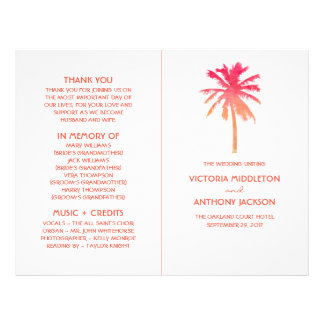 Tropical Sunset Palm Tree Beach Wedding Program