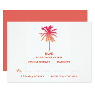 Tropical Sunset Palm Tree Beach Wedding RSVP Card