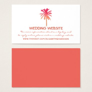 Beach Themed Tropical Sunset Palm Tree Beach Wedding Website Business Card