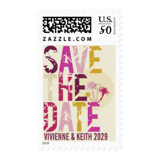 Tropical Sunset Palm Trees Beach Save The Date Postage
