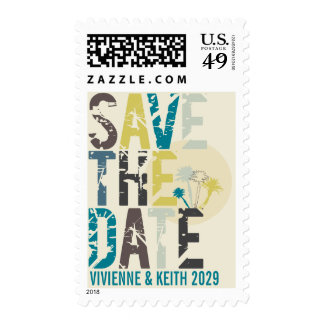 Tropical Sunset Palm Trees Beach Save The Date Stamp