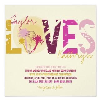 Tropical Sunset Palm Trees Beach Summer Wedding Card