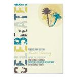 Tropical Sunset Palm Trees Beach Wedding Reception Custom Invite