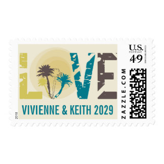 Tropical Sunset Palm Trees Love Wedding Postage