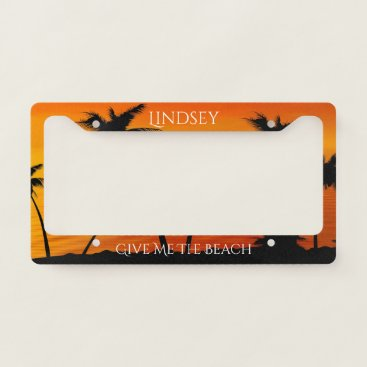 Beach Themed Tropical Sunset Palm Trees Ocean Personalized License Plate Frame