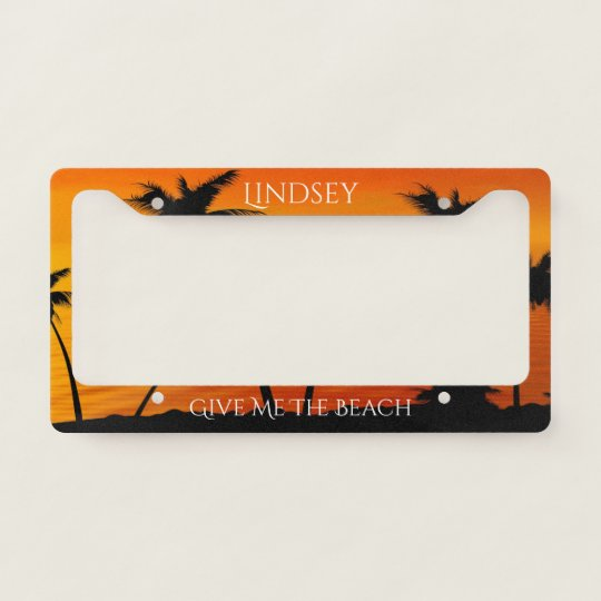 Tropical Sunset Palm Trees Ocean Personalized License Plate Frame ...