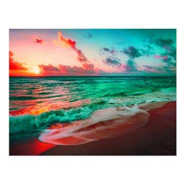 Tropical Sunset Paradise On Sandy Beach Postcard