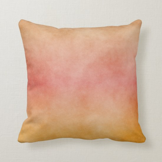 Tropical Sunset Peach Pink Yellow Ombre Throw Pillow