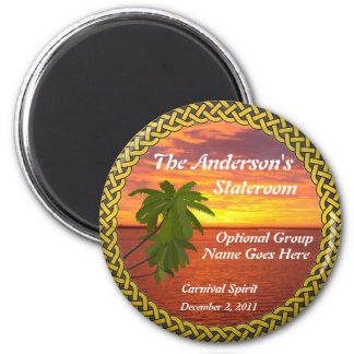 Tropical Sunset Personalized Door Marker 2 Inch Round Magnet