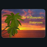 "Tropical Sunset Personalzied Cruise Door Marker Magnet<br><div class=""desc"">Stateroom Door Marker magnet for your cruise to a tropical destination...  perhaps the Caribbean,  or Hawaii!  Makes a wonderful souvenir afterwards.      Mark the door to YOUR cabin with a Stateroom Door Marker,  and find it easily!</div>"