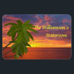 """Tropical Sunset Personalzied Cruise Door Marker Magnet<br><div class=""""desc"""">Stateroom Door Marker magnet for your cruise to a tropical destination...  perhaps the Caribbean,  or Hawaii!  Makes a wonderful souvenir afterwards.      Mark the door to YOUR cabin with a Stateroom Door Marker,  and find it easily!</div>"""
