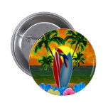 Tropical Sunset Pinback Buttons