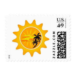 Tropical sunset postage