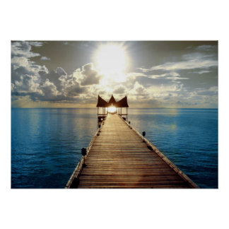 Tropical Sunset Poster Large