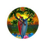 Tropical Sunset Round Clock
