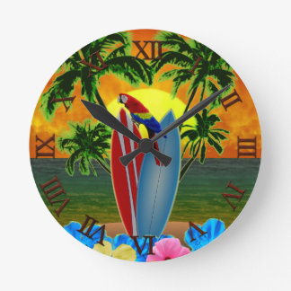 Tropical Sunset Round Clock