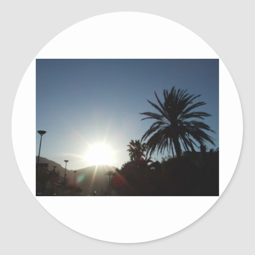 tropical sunset round stickers
