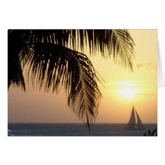 Tropical Sunset Sail Greeting Card