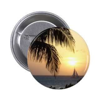 Tropical Sunset Sail Round Pin