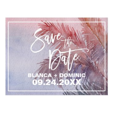 Beach Themed Tropical Sunset Save the Date Postcard